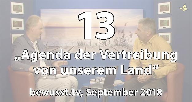 13: Agenda der Vertreibung von unserem Land - Matthias Weidner bei bewusst.tv (Sept. 2018)